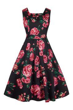 Beautiful Pink Rose on Black Verena Dress : Lady Voluptuous