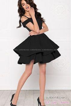 BLANCHE - Podwójnie rozkloszowana sukienka bez ramion czarna Push Up, High Low, Tulle, Prom, Skirts, Black, Dresses, Fashion, Senior Prom