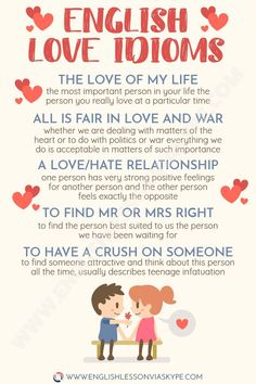 English Idioms about Love with meanings and examples. 12 English idioms related to love. Intermediate level English. Improve English speaking skills. #learnenglish #englishidioms #englishlessons #englishlanguage #ingles #aprenderingles #idioms