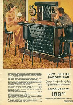 Swanky Padded Bar 1972 - everyone had these in their house, hated it!