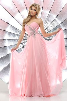 Light Pink and Silver Strapless Long Prom Dress