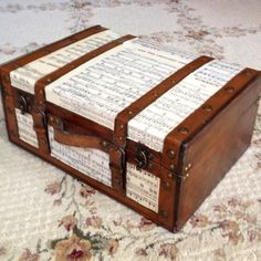 This is a great DIY: Antique suitcase with sheet music. These supplies would be fairly easy to pick up at your local flea market as well! Decoupage Suitcase, Painted Suitcase, Suitcase Decor, Refurbished Furniture, Repurposed Furniture, Painted Furniture, Sheet Music Crafts, Sheet Music Art, Vintage Suitcases