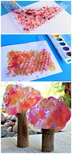 Toilet Paper Roll Tree Craft using bubble wrap and watercolors! #Fall craft for kids | http://CraftyMorning.com