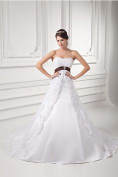 Satin Strapless Beading Lace Belt Bow Crystal Button Princess Wedding Dress with Cathedral Train- Abbydress.com