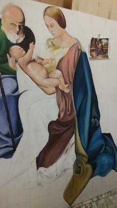 Realizzazione su pannello ligneo dell'immagine principale. Tecnica: tempera acrilica Liceo Artistico Stagio Stagi Pietrasanta