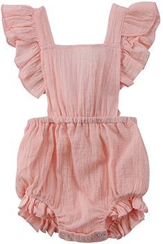 c2709554882c Amazon.com  Toddler Infant Baby Girl Butterfly Sleeve Backless Ruffle Romper  Bodysuit Jumpsuit Outfit. Outfits NiñosBaby Boy ...