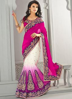Shop this product from here.. http://www.silkmuseumsurat.in/marvelous-magenta-color-faux-georgette-fabric-lehenga-saree?filter_name=4077  Item :#4077  Color : Magenta Fabric : Faux Georgette Occasion : Bridal, Party, Reception, Wedding Style : Lehenga Style Saree Work : Embroidered, Kasab, Patch Border