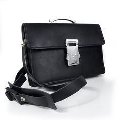 538e1f9e0684 Vintage black leather briefcase metal handle. Nadia · Men s bags