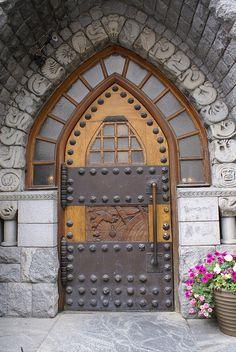 Gothic wood and metal door in Helsinki, Finland. Cool Doors, Unique Doors, When One Door Closes, Door Entryway, Door Gate, Grand Entrance, Door Knockers, Amazing Architecture, Hotel Architecture