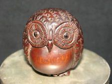Estatuilla De Búho Precioso talladas a mano de madera de boj refinado Netsuke