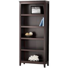 Threshold Carson 5 Shelf Bookcase ($93) ❤ liked on Polyvore featuring home, furniture, storage & shelves, bookcases, room, 5 shelf bookcase, book-shelves, 5 tier shelving, threshold shelves and book shelves