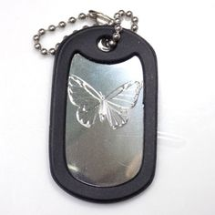 """Butterfly Silver Key Chain With 4"""" Chain Dog Tag Aluminum Rubber Edge EDG-0293"""