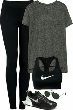 Team Vogue — Untitled by featuring nike shirts. Teenage Outfits, Outfits For Teens, Casual Outfits, School Outfits, Casual Dresses, Gym Style, Mode Style, Workout Style, Workout Attire
