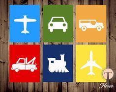 Cars, Trucks, and Planes 6 digital prints, transportation art, boys room art, boys nursery art by T3DesignsCo on Etsy