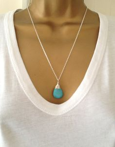 Long Turquoise Wrapped Necklace UK Shop by PABJewellery on Etsy