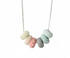 Colorful Pastel Bead Necklace for women, handmade…