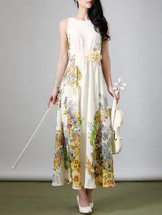 Shop Maxi Dresses - Yellow Boho Chiffon Maxi Dress online. Discover unique designers fashion at StyleWe.com.