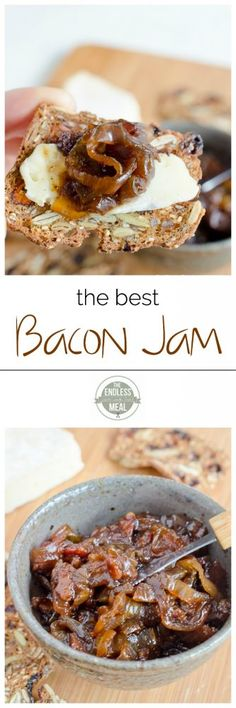 """Best Bacon Jam The Best Bacon Jam Recipe (Okay, not sure how """"healthy"""" this is.)The Best Bacon Jam Recipe (Okay, not sure how """"healthy"""" this is. Best Bacon Jam Recipe, Bacon Recipes, Jam Recipes, Canning Recipes, Paleo Recipes, Sauces, Tapas, Easy To Make Appetizers, Goat Cheese"""