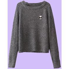 ALIEN dark grey Sweater ($35) ❤ liked on Polyvore featuring tops, sweaters, dark gray sweater and dark grey sweater