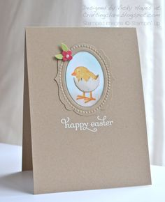 Cutest Easter chick!  Everybunny stamp set,  Delightful Dozen stamp set, Designer Frames TIEF, from Vicky at Crafting Clare's Paper Moments: