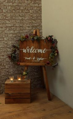 This Rustic Wedding sign will welcome your guests to your big day. This sign is ideal to be placed on an easel at your wedding venue, the sign can also be hung on a wall or propped up against a wall. The Sign is hand crafted by us, at our studio in Yorkshire, the sign is hand