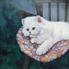 White kitten on a Chair - Animal Art