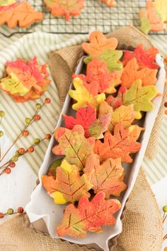 These Fall Leaf Cut Out Cookies are a fun way to celebrate the coming of fall. … These Fall Leaf Cut Out Cookies are a fun way to celebrate the coming of fall. Colorful cookie dough and sanding sugar makes these a pretty cookie to enjoy all Fall season. Leaf Cookies, Fall Cookies, Sweet Cookies, Cut Out Cookies, Yummy Cookies, Colored Cookies, Sweet Treats, Thanksgiving Cookies, Thanksgiving Recipes
