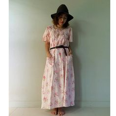 Pink floral cotton Maxi  Smock Neck Dress  Long Tunic by siam2u