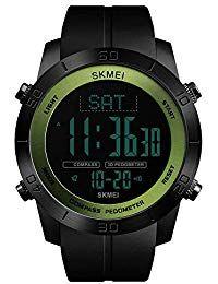 804fddc3cc98 Relojes Deportivos brújula para Hombre podómetro calorías Reloj Impermeable  Digital Relojes de Pulsera Relojes Digitales  YaSeLoQueQuieroEnNavidad   Trindu