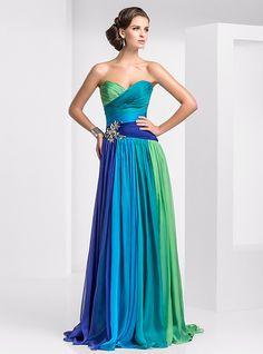 94414f24b1 Corte en A Escote Corazón Larga Raso Bloque de Color Fiesta de baile    Evento Formal Vestido con Fruncido   Plisado por TS Couture®   Gradiente de  Color