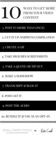 10 WAYS TO GET MORE FROM YOUR VIDEO CONTENT