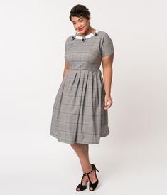 Plus Size Retro Style Grey Plaid Check Short Sleeve Beatrice Swing Dre –  Unique Vintage Grey 905db5715379