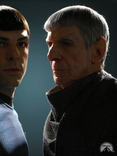 The look Spock Prime is giving his younger self holds so much emotion, almost like he's hoping younger Spock won't make the same mistakes he did, hopes he finds his balance between his human & Vulcan side sooner, & find the profound friendship he had.   And that's why I loved the original Star Trek & the crossovers with this new universe, because it teaches the hardships & weight of growing old & accepting the consequences of our younger decisions.