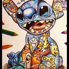 result for littlesamart disney Disney Paintings, Disney Artwork, Disney Phone Wallpaper, Cartoon Wallpaper, Cute Disney Drawings, Cool Drawings, Colorful Drawings, Stitch Drawing, Kawaii Disney