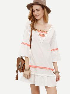 ORMELL V-Neck White Tassels Cute Dress Three Quarter Sleeve Ladies Summer Autumn Fit Casual Boho Loose #Dresses #Destivalstyle