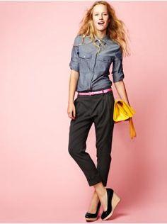 Denim shirt, black tapered trousers, wedges