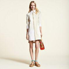 Patchwork Poplin Shirtdress Popeline Kleid