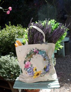 Provence Hand Painted Market Tote Bag Natural Wide