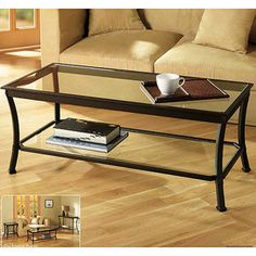 Mendocino Coffee Table, Metal & Glass for the new house living room