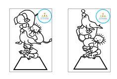 Stapelspel opdrachtkaarten zwart/wit en kleur hier te downloaden: http://juf-in-spe-annelies.blogspot.be/2015/07/update-circusspelletjes-gratis-downloads.html
