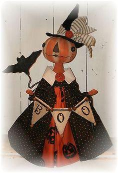 OOAK Primitive HALLOWEEN Folk Art Witch Door Charmer Doll - 36 ...