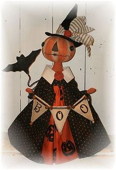 Primitive Folk Art Halloween Pumpkin Witch doll & banner bat PFATT ooak EHAG | eBay Halloween Doll, Halloween Items, Holidays Halloween, Vintage Halloween, Halloween Pumpkins, Halloween Crafts, Halloween Decorations, Primitive Doll Patterns, Primitive Folk Art