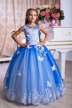 Blue Dresses For Girls - Blue Flower Girl Dresses, Royal Blue Flower Girl Dresses, Birthday Wedding Little Girls Fancy Dresses, Girls Blue Dress, Girls Pageant Dresses, Gowns For Girls, Wedding Dresses For Girls, Dresses Kids Girl, Girl Outfits, Flower Girl Dresses, Pretty Dresses For Kids