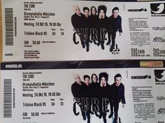 ** 2 x Tickets THE CURE München - Gute Sitzplätze - Konzertkarten 24.10.2016 **
