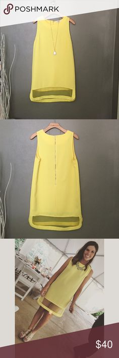 Adorable shift dress This little yellow shift dress. The bottom is a sheer chiffon/mesh.  Very cute, hate to sell it! But it is just too big now Umgee Dresses Mini
