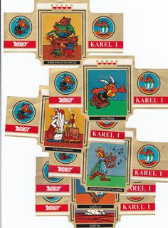 6 BIG cigar bands Karel I Asterix extremely rare set!