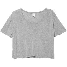 Becka top (15 CAD) ❤ liked on Polyvore featuring tops, t-shirts, shirts, crop tops, grey crop top, crop t shirt, cropped shirts, grey t shirt and gray shirt