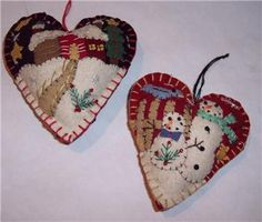 Heart ornaments;elaborate applique detail one with snowmen and other with house