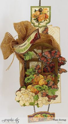 Beautiful autumn home decor by Tati Scrap using An Eerie Tale. There's also a tutorial on the blog! #graphic45