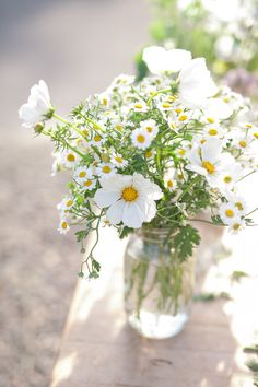 New Flowers Photography Vase Mason Jars 61 Ideas Mason Jar Flower Arrangements, Daisy Centerpieces, Mason Jar Flowers, Floral Arrangements, Daisy Wedding Arrangements, Daisy Decorations, Mason Jars, Daisy Wedding Flowers, Tall Centerpiece
